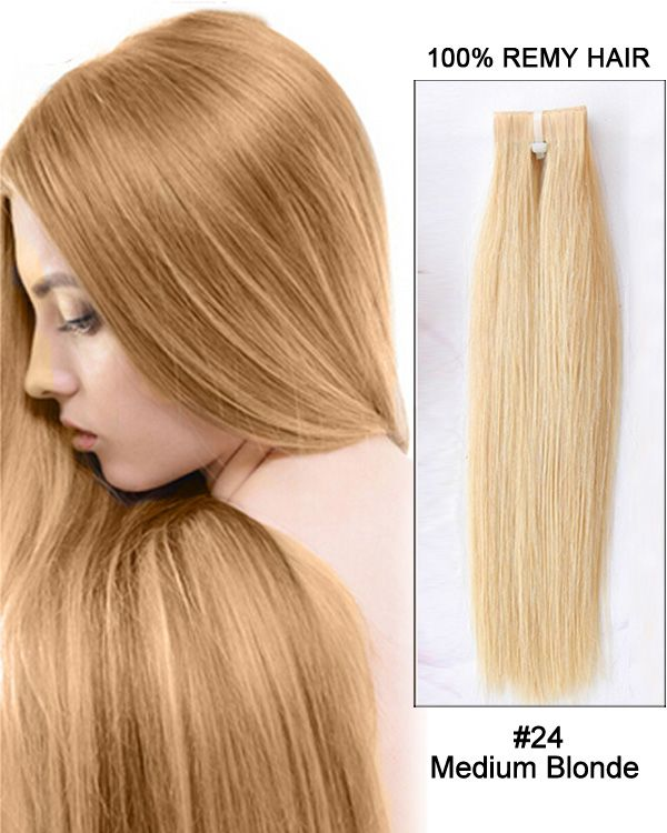 24 Tape In Remy Hair Human Hair Extensions 18 Medium Blonde 50g 20