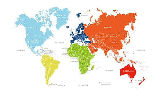 childrens brightly coloured world map poster a2 by midmadmoduk 2500