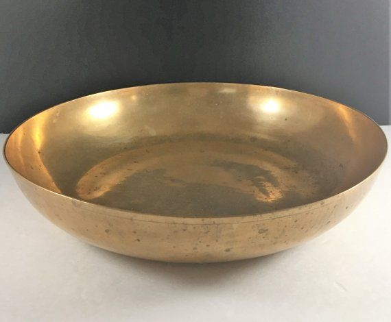 Enjoyable Vintage Brass Bowl Large Shallow Coffee Table Bowl Brass Gmtry Best Dining Table And Chair Ideas Images Gmtryco