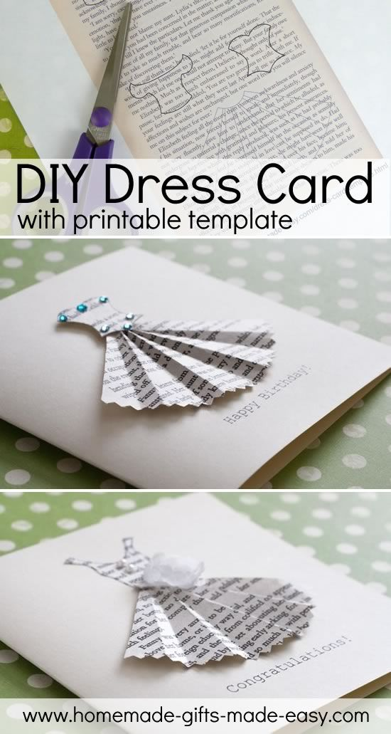 Book-Print Dress Card Template (Homemade Gift Ideas Blog) Dress - printable greeting card templates