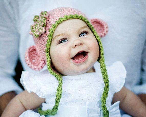 Organic Cotton Chunky Mini Monkey Flap Hat Cherry Blossom With Pistachio Trim And Flower Photo Prop Crochet Baby Hats Baby Girl Hats Newborn Baby Girl Hats