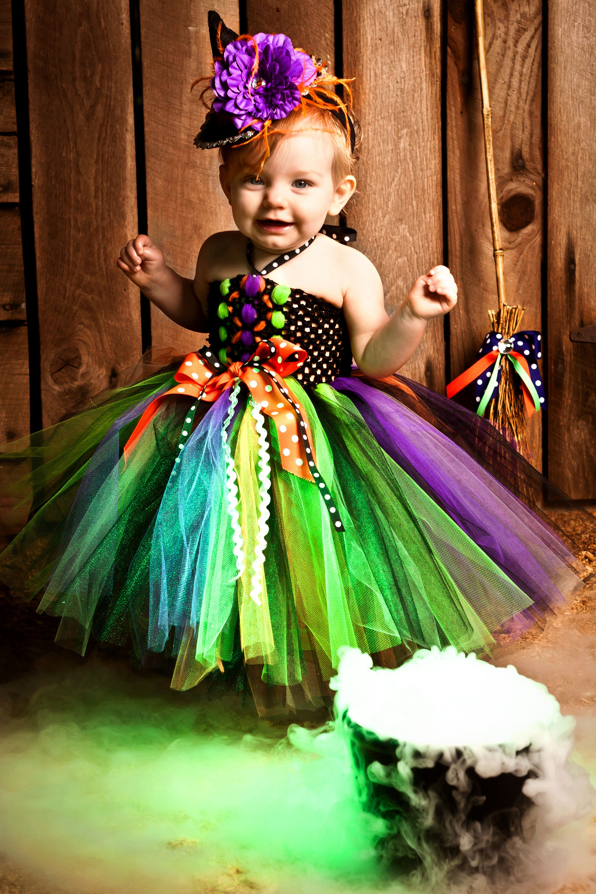Darling witch costume made in black, orange, purple, and lime ...