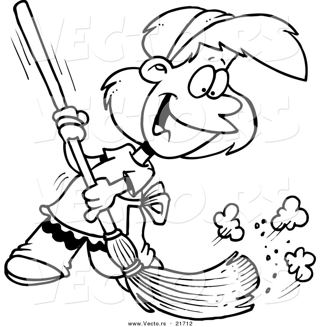 Vector of a Cartoon Girl Sweeping - Outlined Coloring Page ...