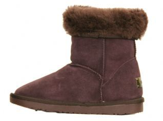 NEW WOMENS FAUX FUR LINED GIRLS LADIES SUEDE WINTER COW SKIN FLAT BOOTS (2)