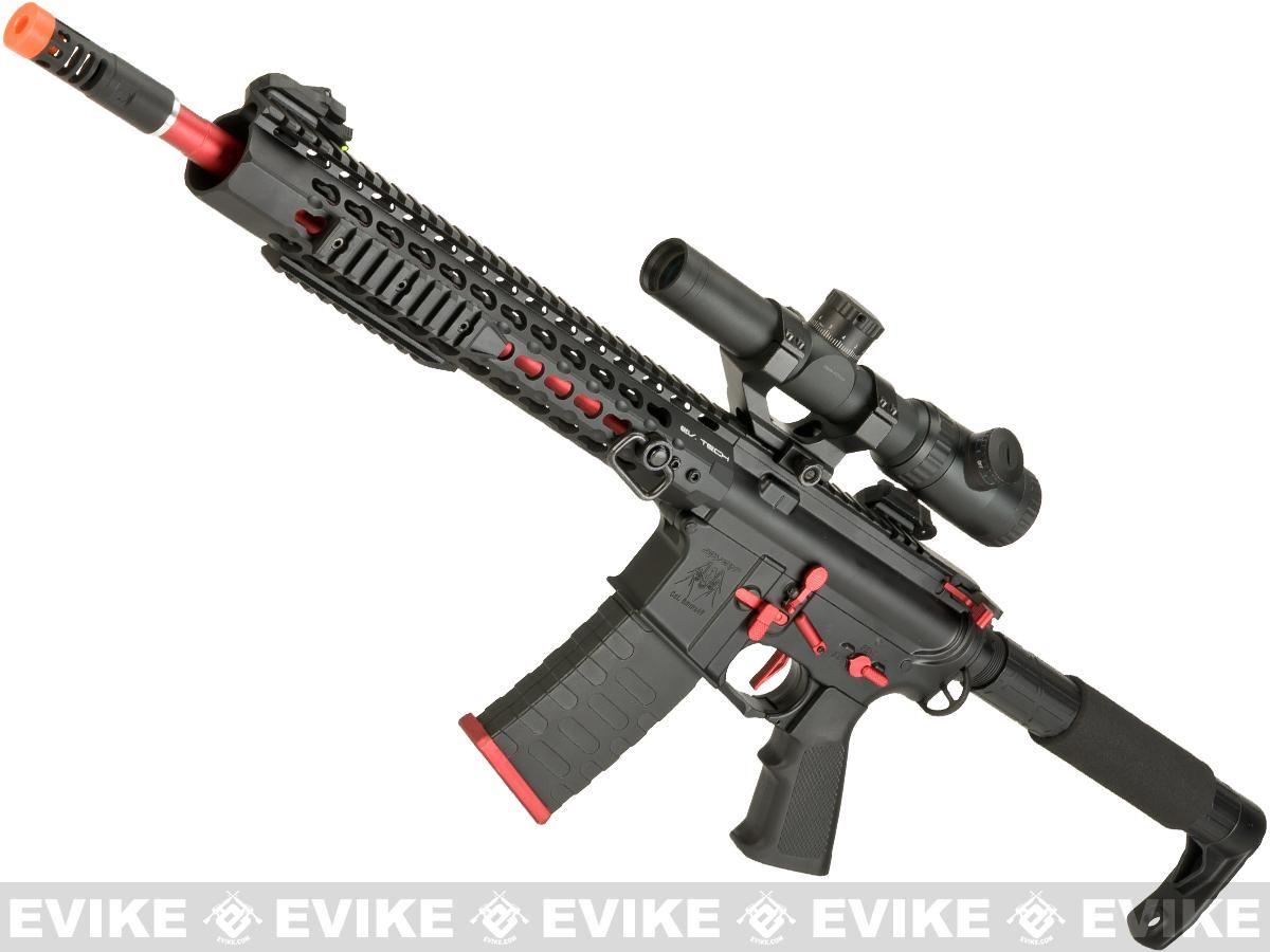 APS ASR115X Three Gun Custom AEG Rifle w/ Silver Edge Gearbox – Red/Black, Airso…