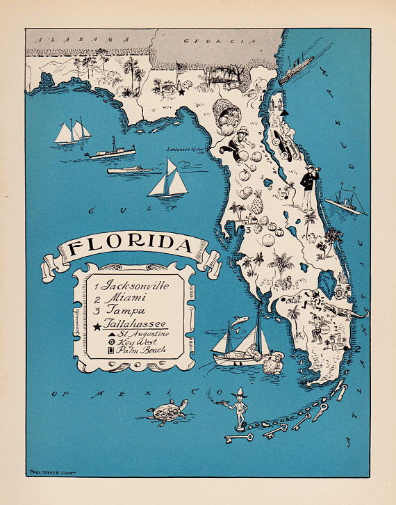 30\'s Vintage Animated FLORIDA State Map of Florida Cartoon Map Print ...