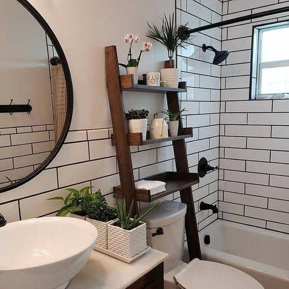 Ships within 1 Business Day - Dark Walnut stained Over-the-toilet Ladder Shelf