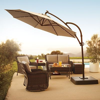Lighted Umbrella For Patio Sonoma Outdoors Crank And Tilt Lighted Offset Cantilever Umbrella