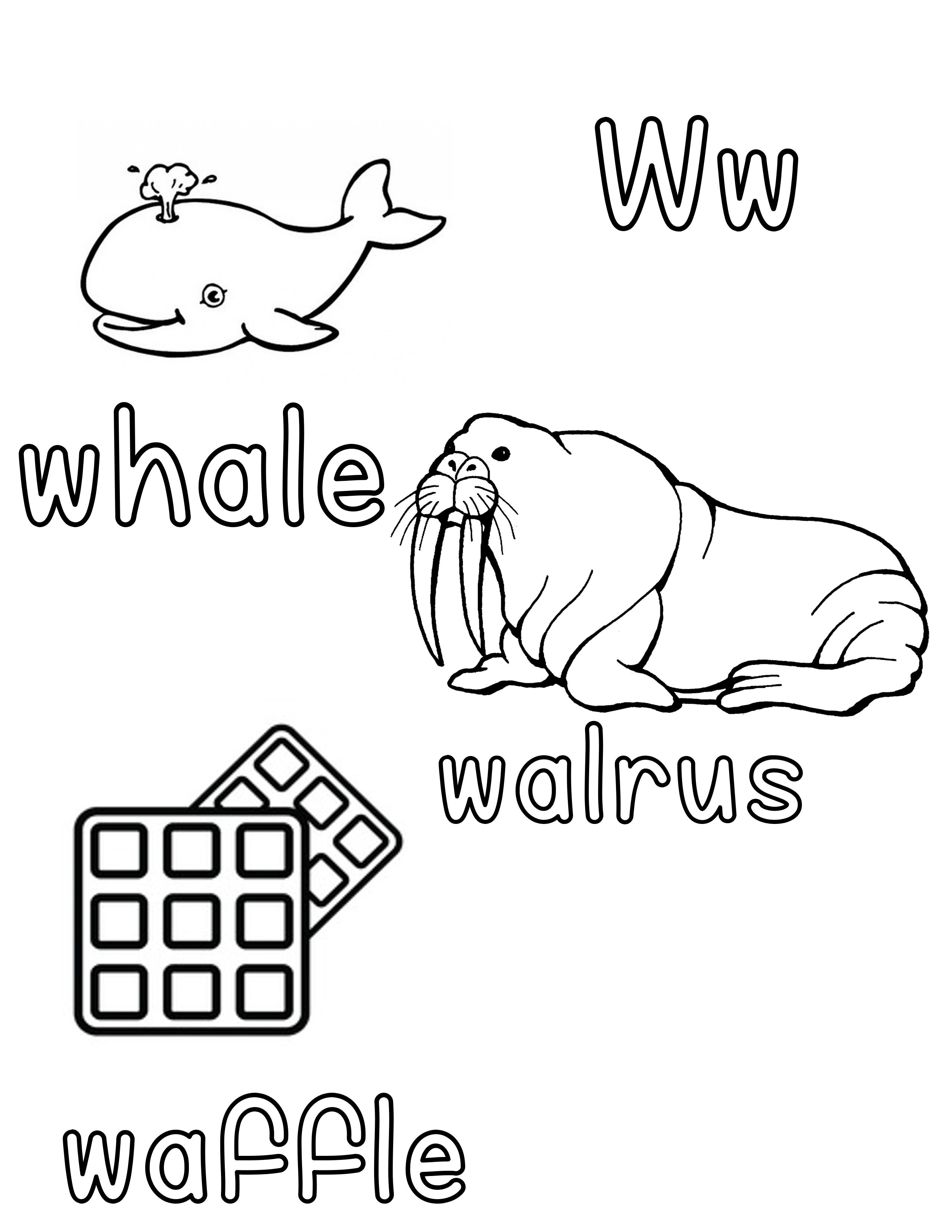 Phonetic Ww Coloring Sheet