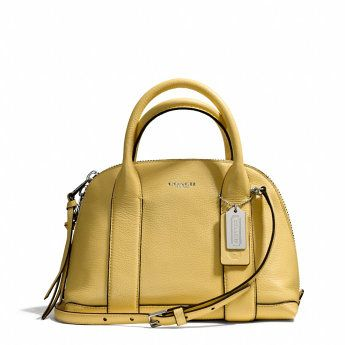 BLEECKER MINI PRESTON SATCHEL IN PEBBLED LEATHER - SILVER/PALE LEMON. Coach