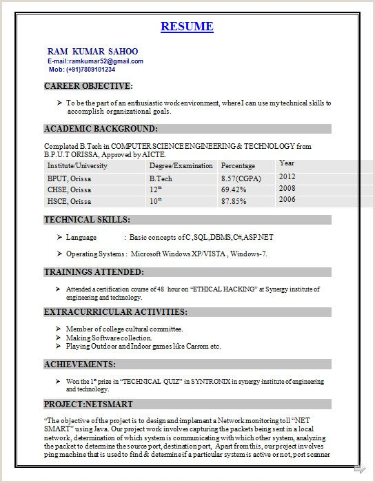 cv format for fresher computer engineer in 2020