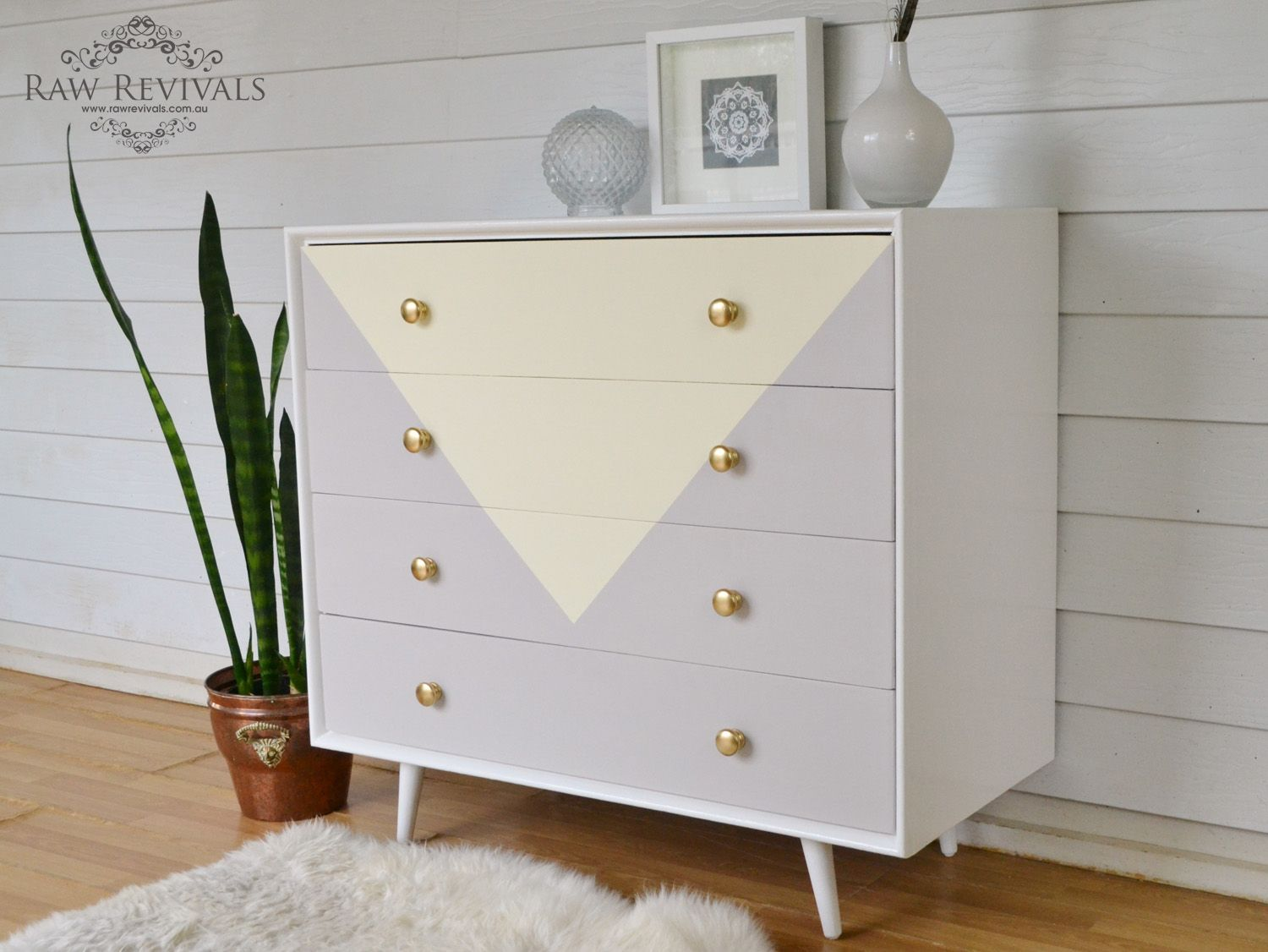 Original 60s chest of drawers. Painted in pastel yellow and grey in ...