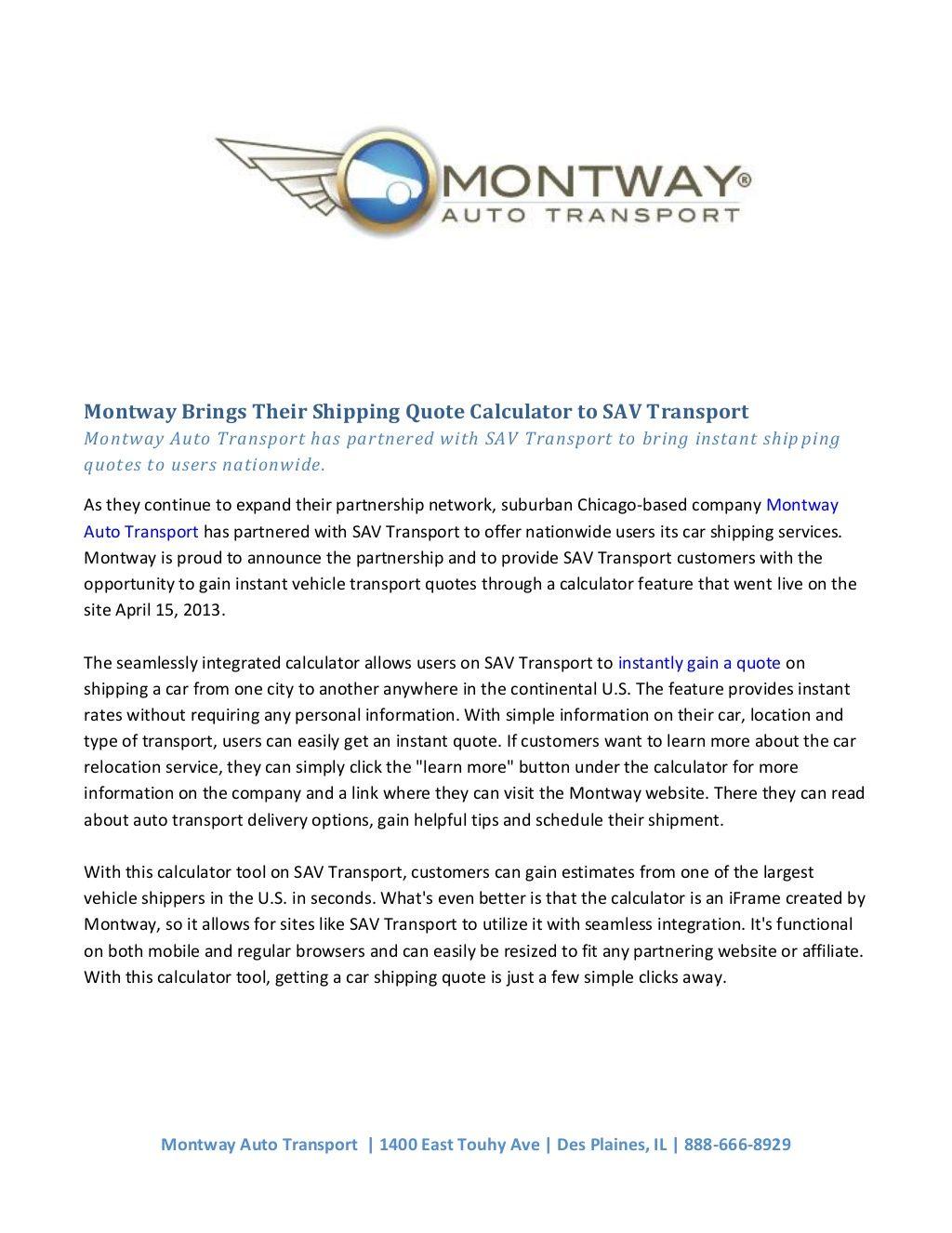 Auto Transport Quotes Montwaybringstheirshippingquotecalculatortosav Transport.