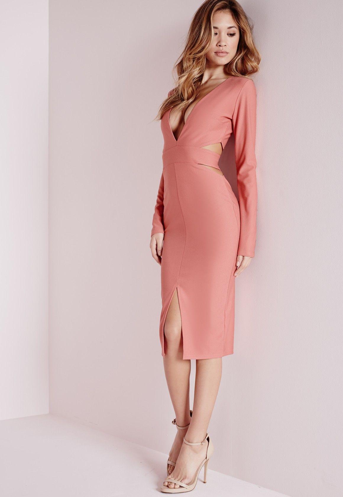 Crepe long sleeve cut out midi dress rose pink pinterest midi