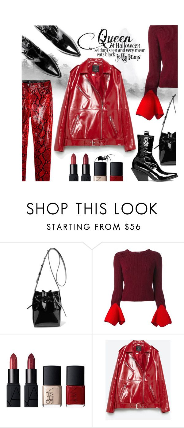 """""""2016 red snake pants"""" by vaughnroyal ❤ liked on Polyvore featuring Mansur Gavriel and Alexander McQueen"""