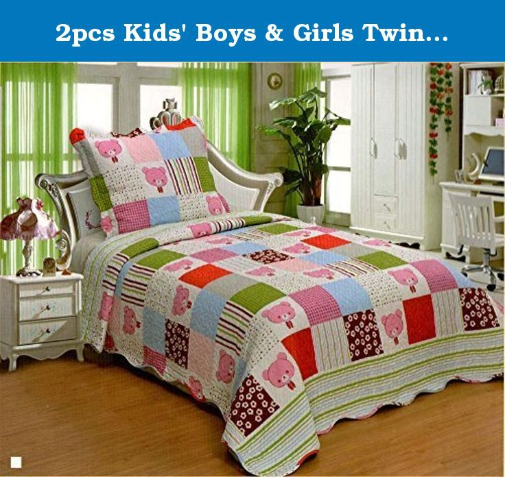 2pcs Kids Boys Girls Twin Size Reversible 100 Polyester Bedspread Quilt Coverl Bed Spreads Quilt Sets Twin Quilt Size