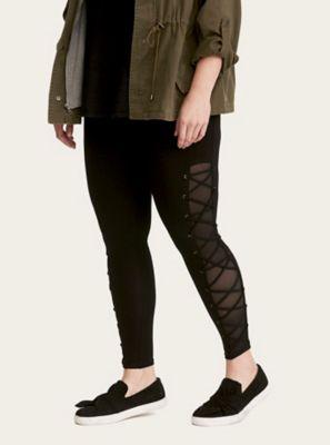 7b93a5588adca Black Lace Up Mesh Inset Full Length Leggings in Black/White