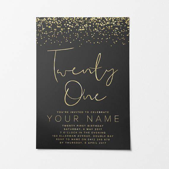 Gold Printable Birthday Invitation Custom Diy 21st Invitations Dinner