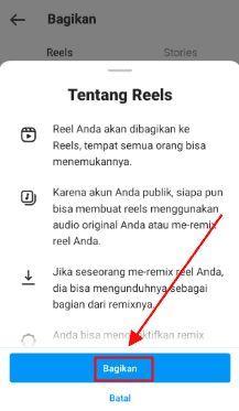 cara upload video ke reels di instagram