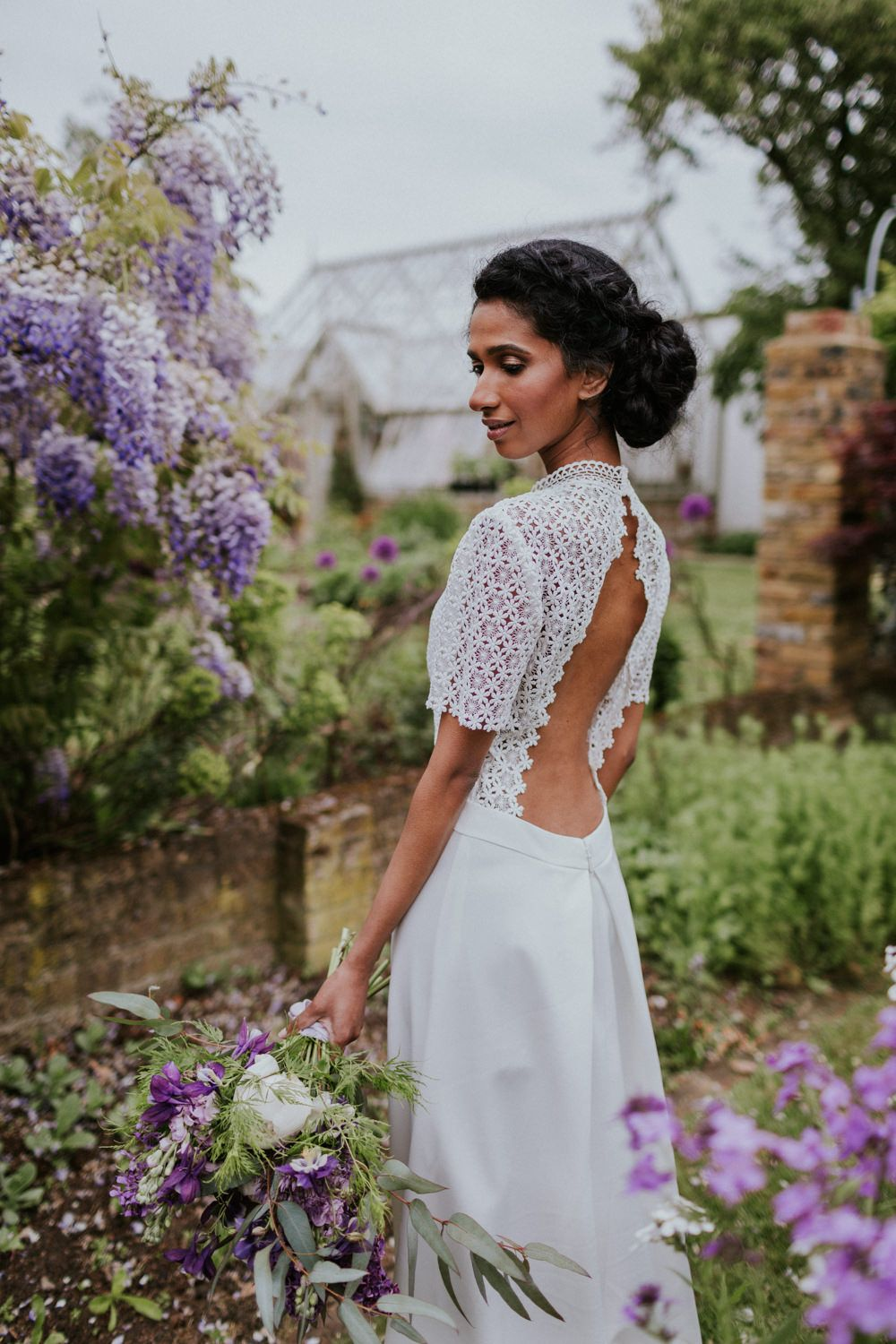 Violet Flower Filled Secret English Garden Inspiration in a Glasshouse Styled by The Timeless Stylist