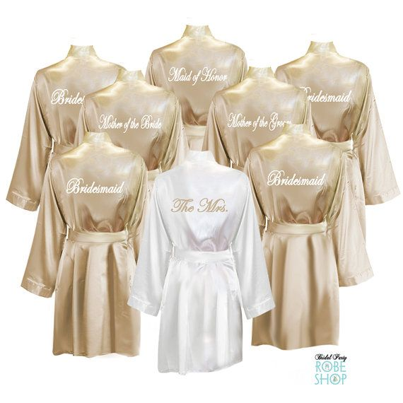 Set of 8 Personalized Knee Length Satin Robes with Titles on Back