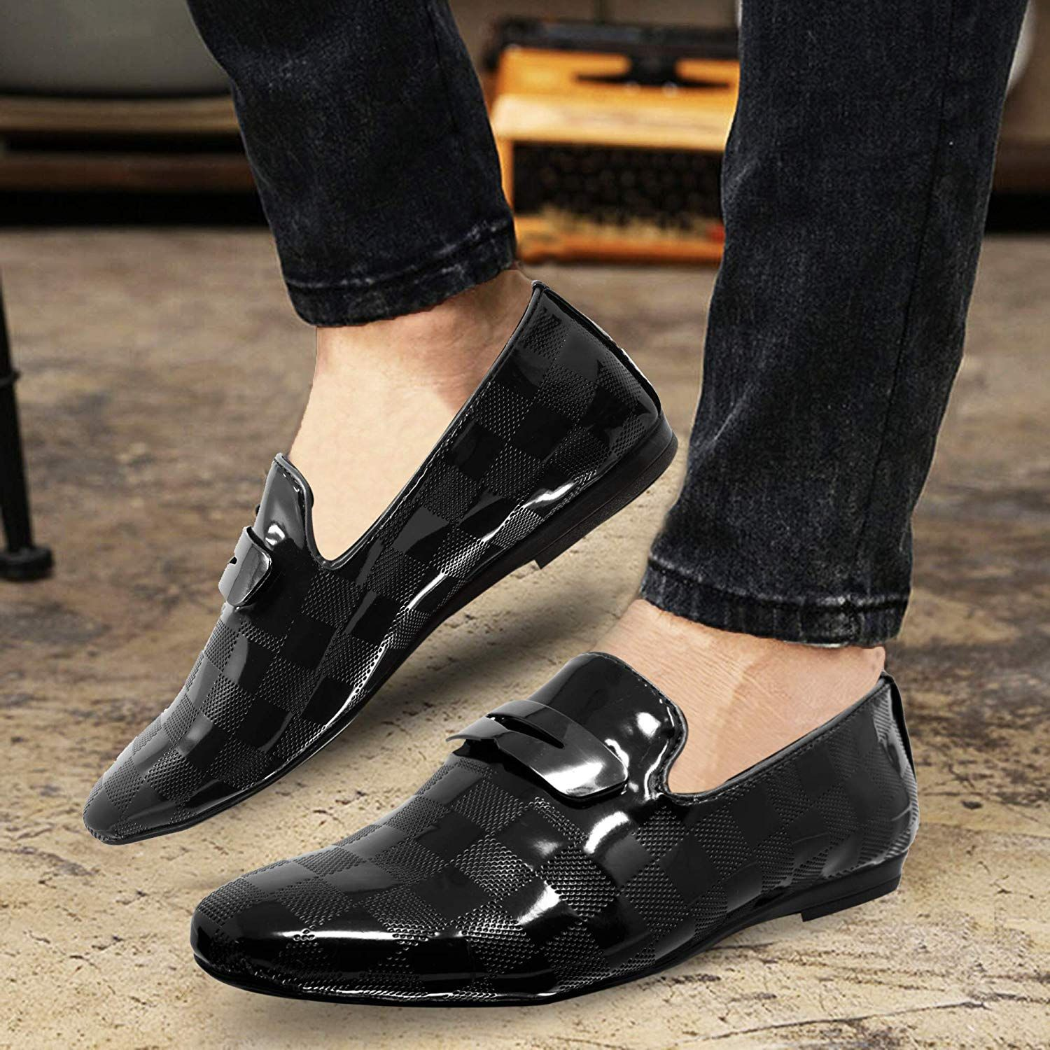 Mens Pointed Toe Derby Shiny Patent Evening Party Dress