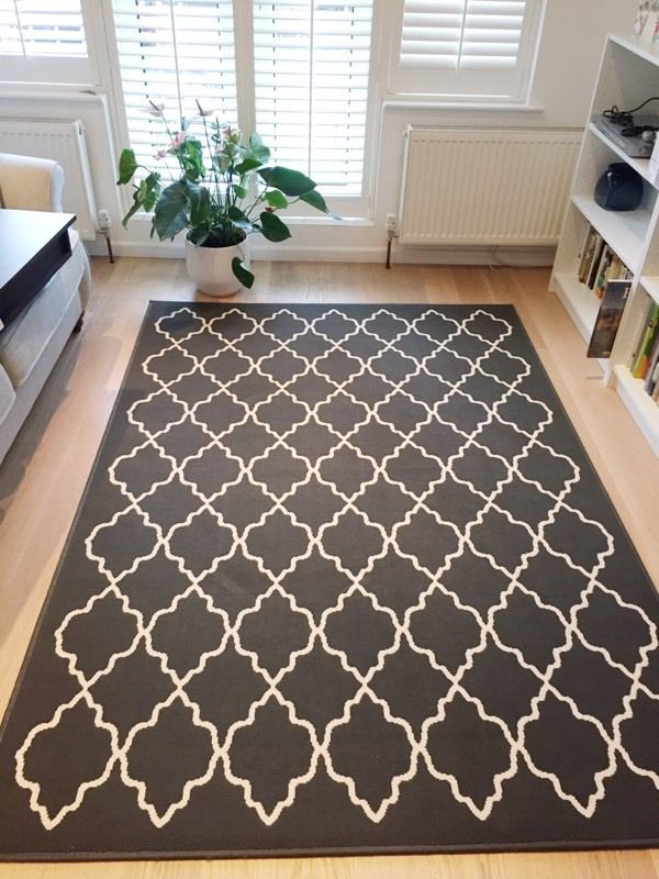 Hovslund rug low pile dark grey 160x230 cm living rooms for Grey rug ikea