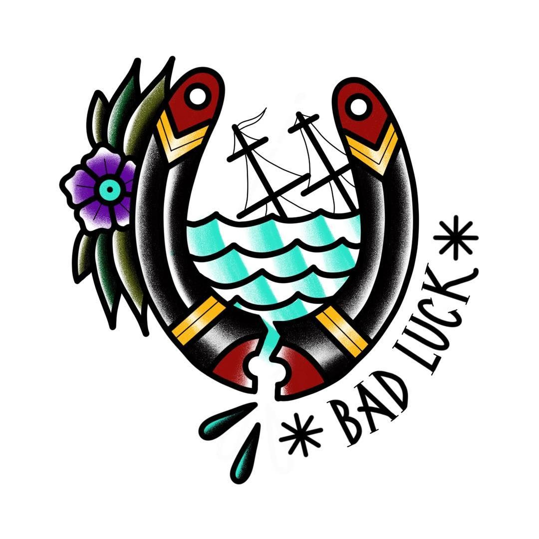 df72199f54f7a Bad luck.. #flashtattoo #flash #badluck #bad #luck #lucky #tattoo #tattoos  #tattooed #ink #draw #drawing #color #traditional #traditionaltattoo  #oldschool ...