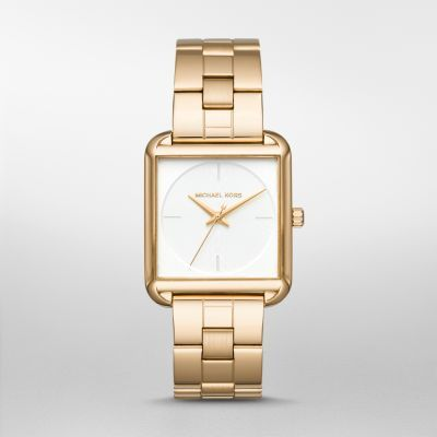 4bb0d64f225b Lake Gold-Tone Three-Hand Watch Style gets squared in the Michael Kors Lake  watch