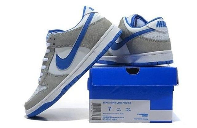 Nike Dunk Low Cut Mens Shoes Grey White Blue 0