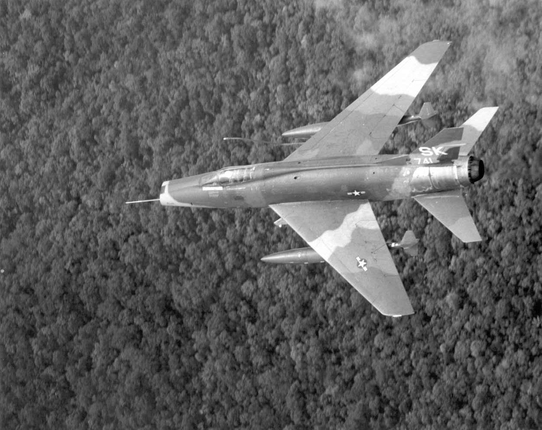 F100 Super Sabre over Vietnam Us military aircraft