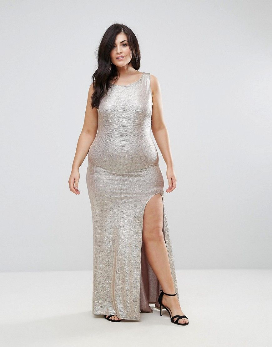 Tfnc plus high neck metallic maxi dress with back knot winter