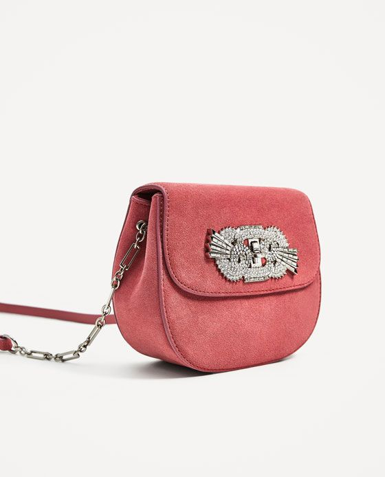 Image 1 of LEATHER DETAIL CROSSBODY BAG from Zara