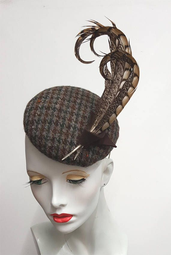 Harris tweed and pheasant feather fascinator hat country  c5d3ced09865
