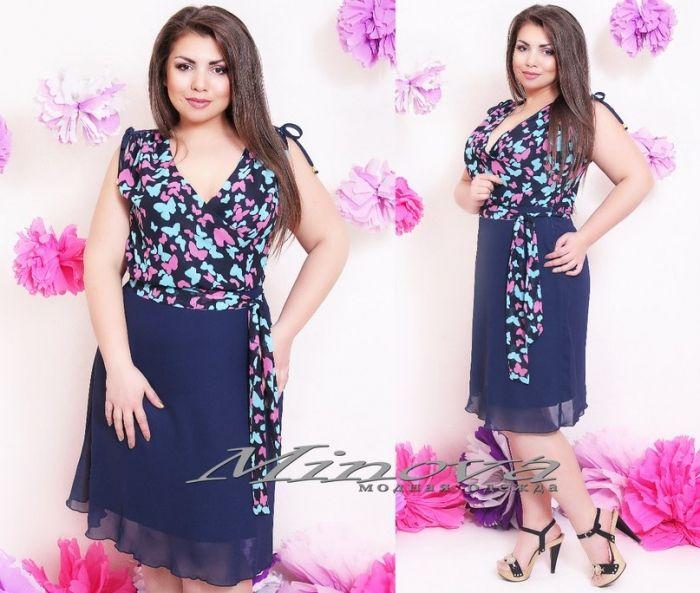 Платье №176-розовый бабочки+тем.синий - Платья-Батал - Minova интернет-магазин