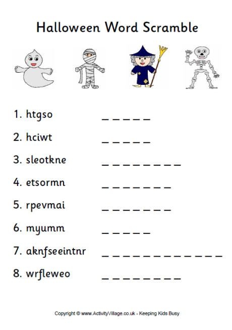 Halloween word scramble 1 pdf link | TEACH: Arts & Crafts ...
