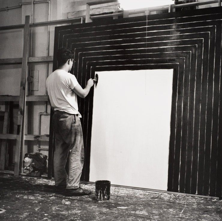 Scandinaviancollectors frank stella stella painting getty tomb in his new york studio from the black paintings series photography by hollis frampton