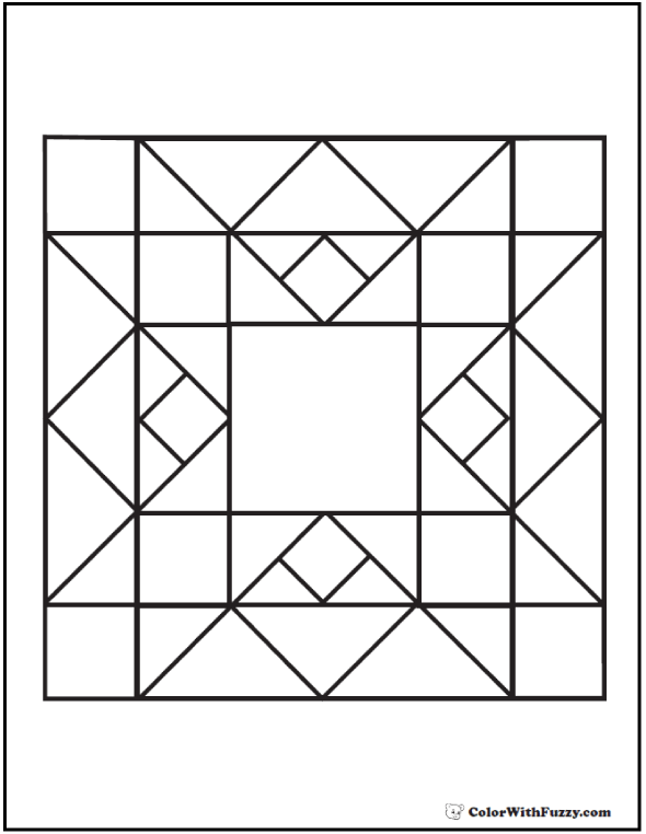 Quilt Pattern Coloring Page Squares Diamonds And Triangles Barn Quilt Patterns Geometric Coloring Pages Wall Quilt Patterns