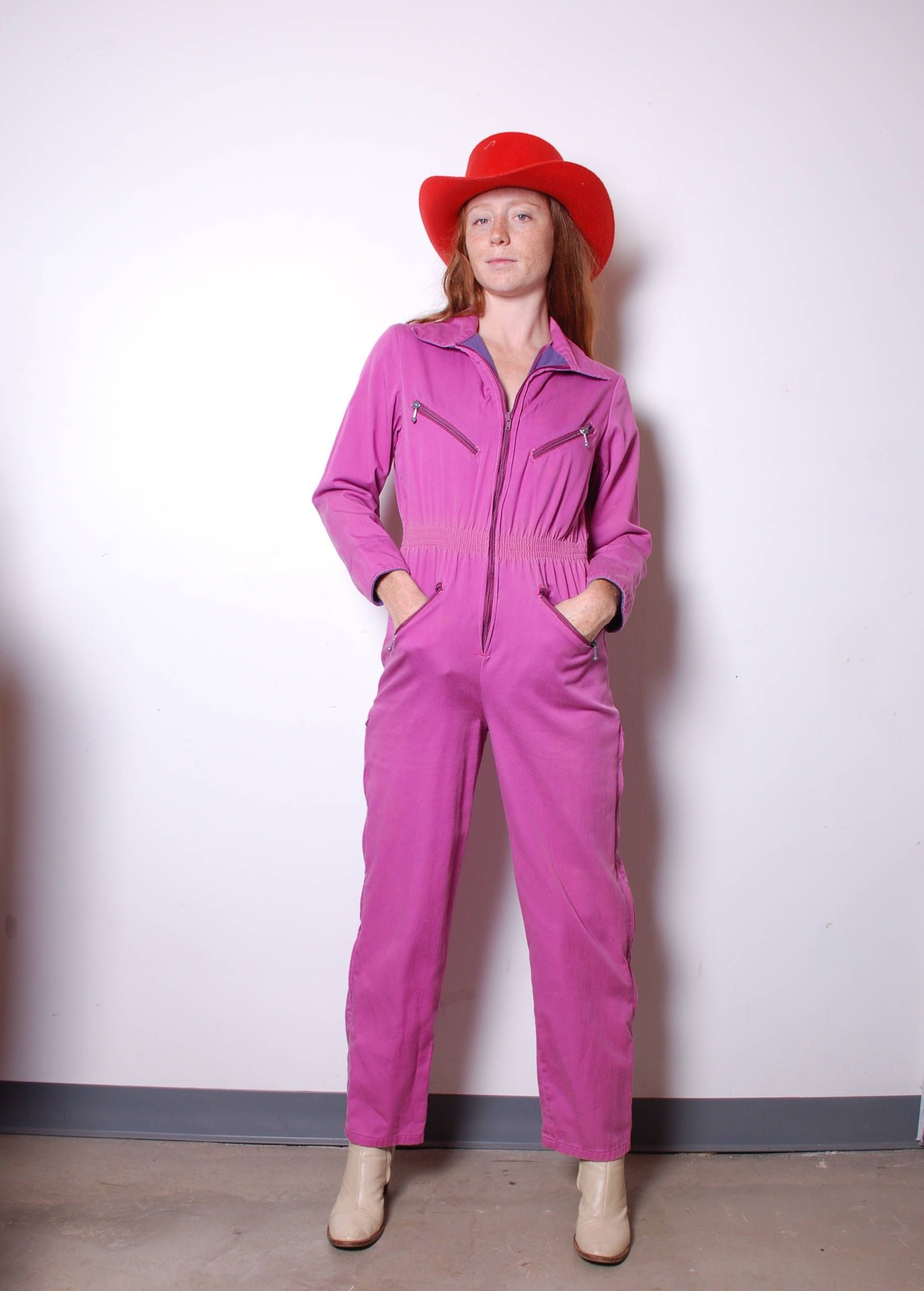 1970s small pink jumpsuit womens vintage clothing romper ...