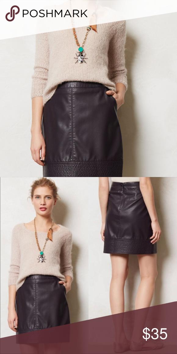 dff5707708 Anthropologie Vegan Leather Mini Skirt, Purple, 4 Vanessa Virginia for Anthropologie  Vegan Leather Mini