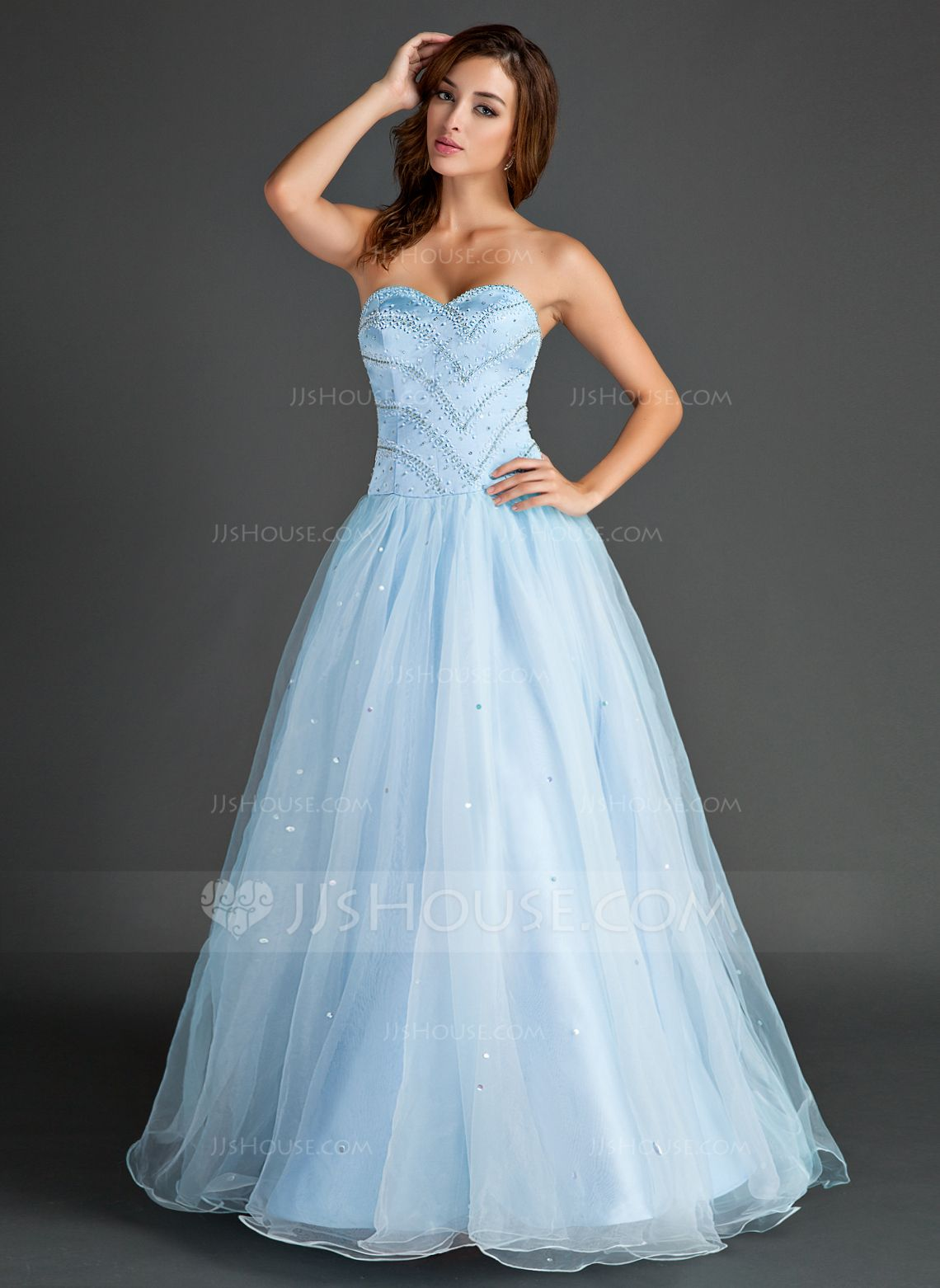 Ball-Gown Sweetheart Floor-Length Organza Prom Dress With Beading ...