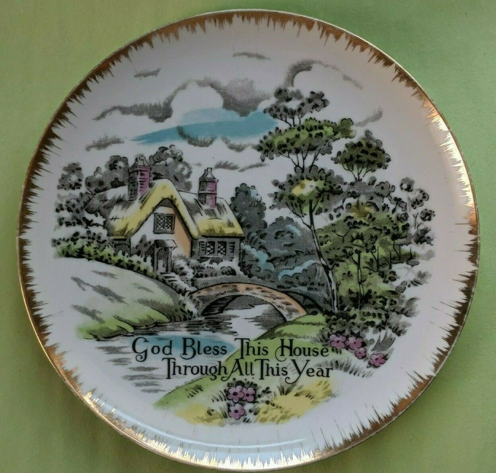 Details About Porcelain Giftcraft Fine China Plate God Bless This House Through All This Year In 2020 China Plates Fine China Plates
