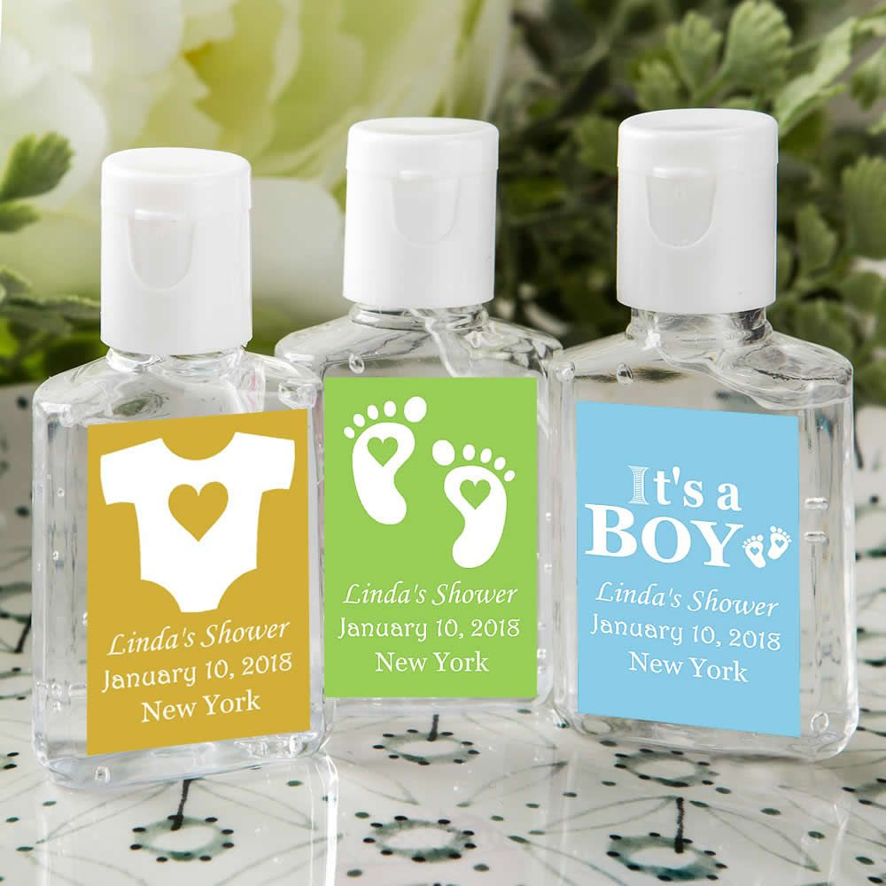 Personalized Baby Shower Favors Hand Sanitizer Boy Free Assembly
