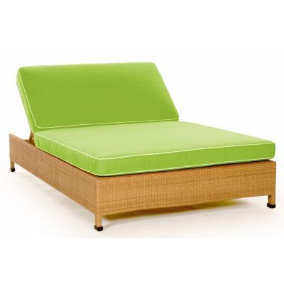 Caluco Point Dome All Weather Wicker Patio Double Chaise Lounge/Daybed With  Cushion