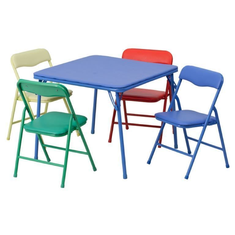 Table Chair Set For Kids Folding Colorful Activity Play Center 5 Piece Furniture