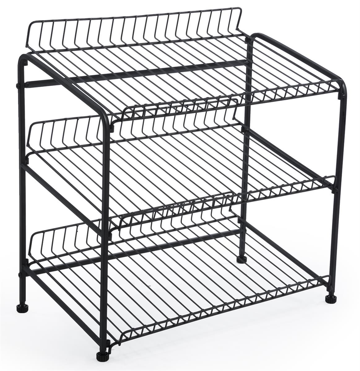 Wire Rack for Countertop Use with 3 Open Shelves, Black | Wire racks ...