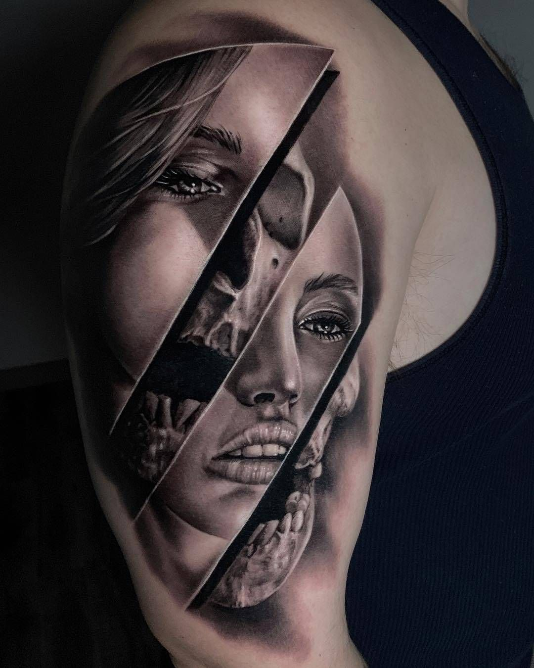Creative blackgrey realism tattoos for guys face