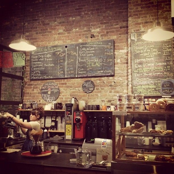 Kitchy Kitchen Decor: Cafe #chalkboard #menu #coffee #cafe #exposed #brick #wall