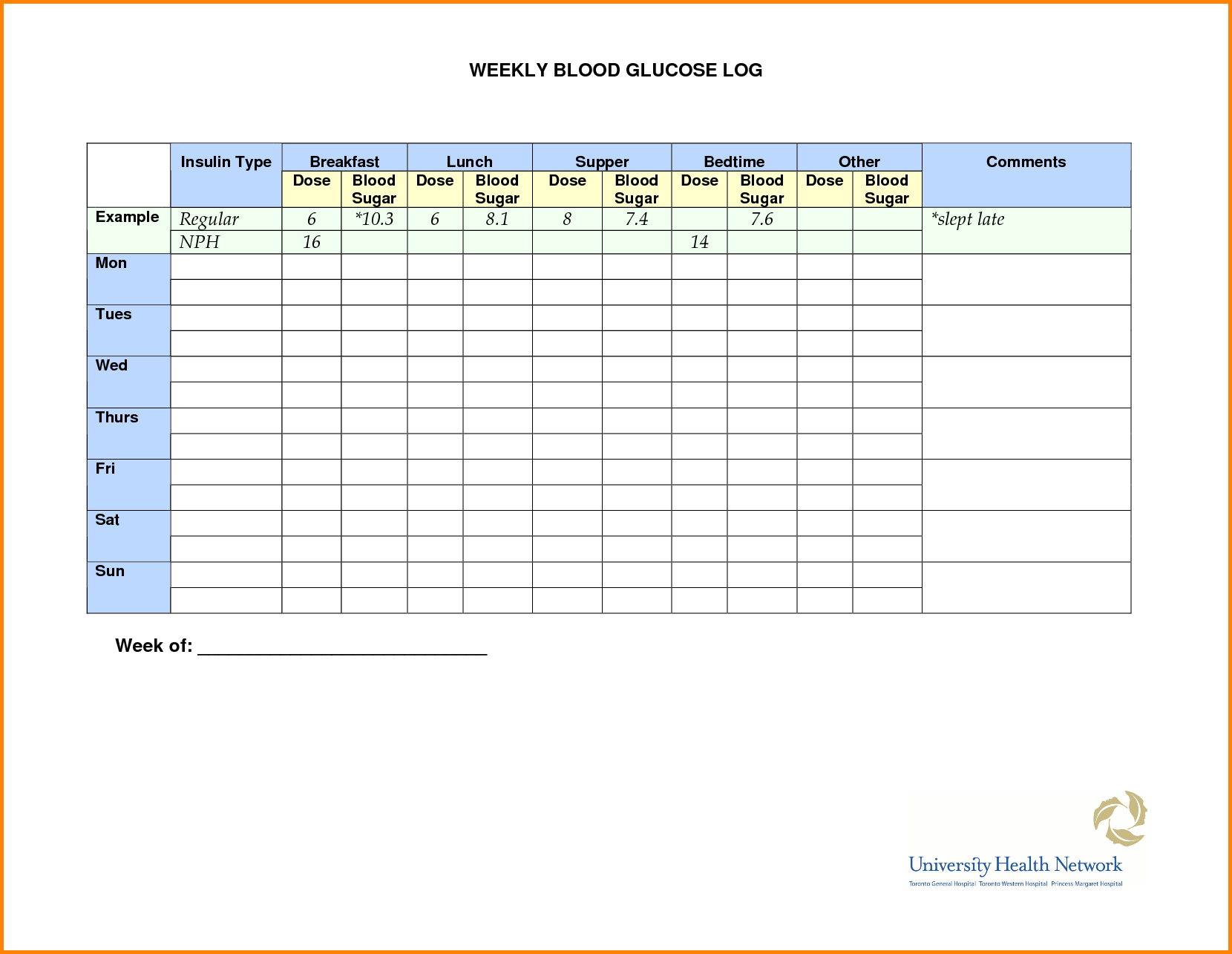 Blood Glucose Monitoring Chart  Diabetic Meal Planning