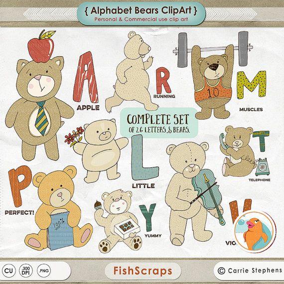 Alphabet Bears ClipArt - AZ Alphabet Animals - Teddy Bear Clip Art ...